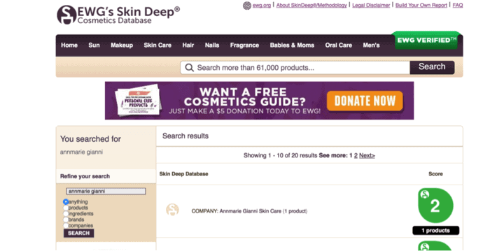 EWG's Skin Deep Database