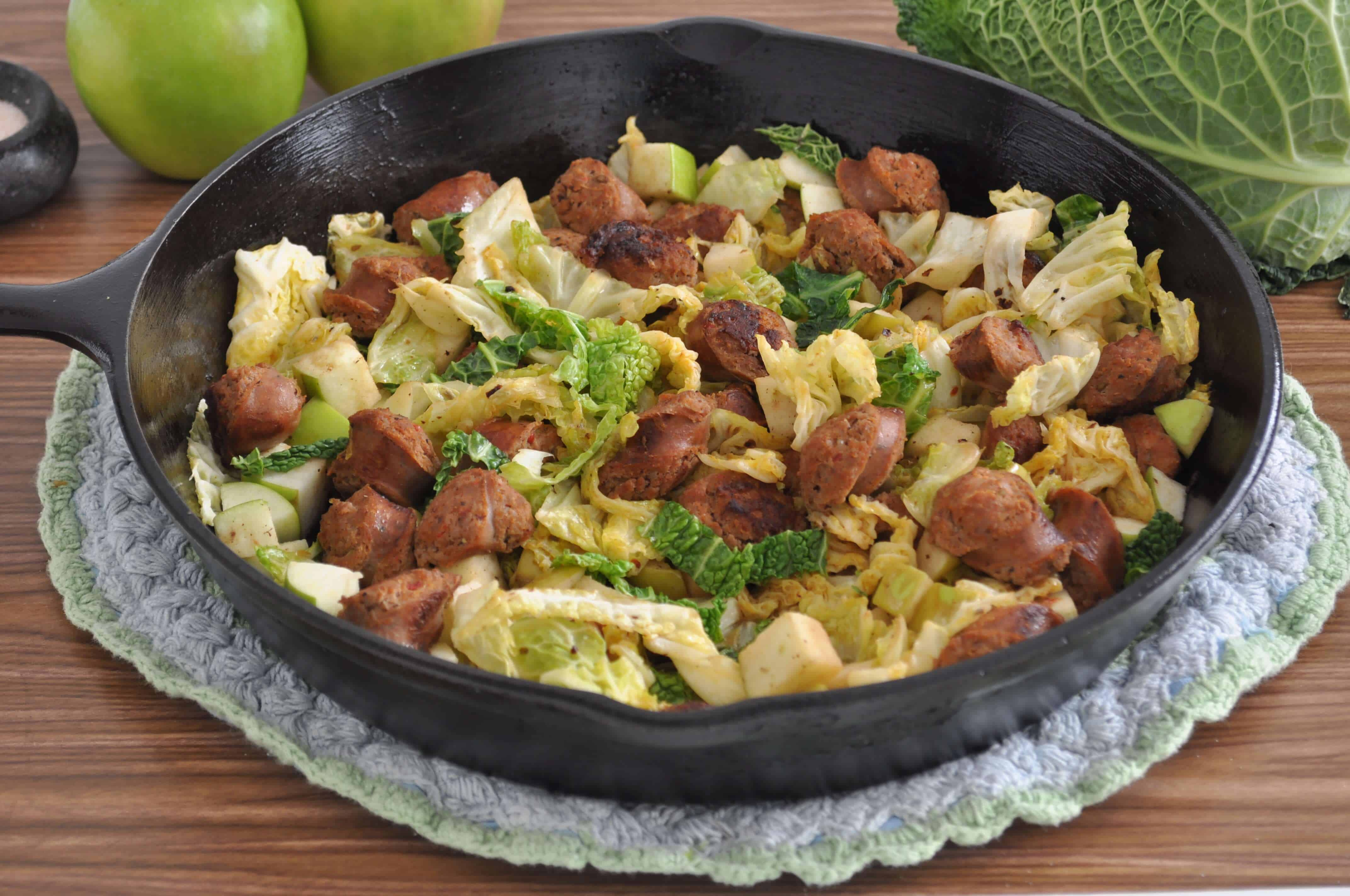Chicken Apple Sausage Cabbage Saute